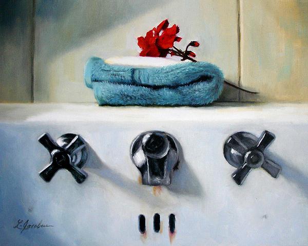Red Geranium And Old Sink Print by Linda Jacobus
