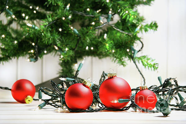 Red Glass Balls With Lights  Print by Sandra Cunningham