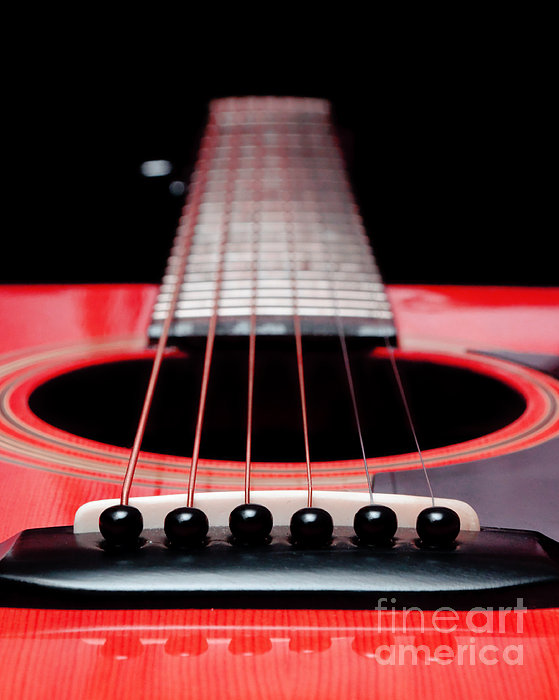 Red Guitar 16 Print by Andee Design