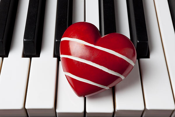 Red Heart With Stripes Print by Garry Gay