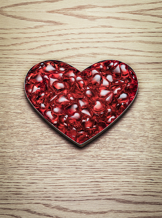 Red Hearts In A Heart Shape Print by Jonathan Kitchen