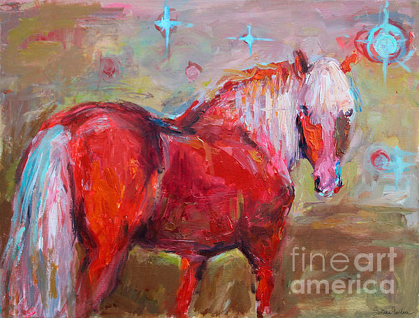 Red Horse Contemporary Painting Print by Svetlana Novikova