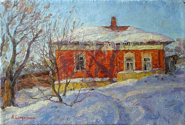 Red House Print by Andrey Soldatenko