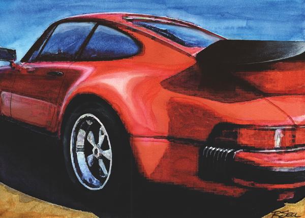 Red Porsche 930 Turbo Print by Rod Seel