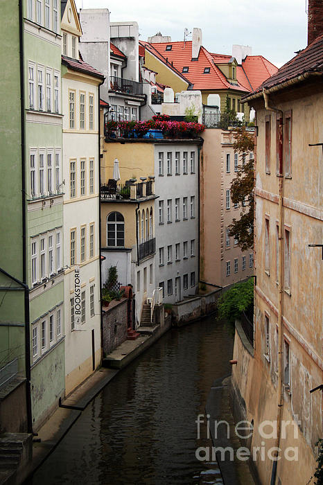 Red Rooftops In Prague Canal Print by Linda Woods