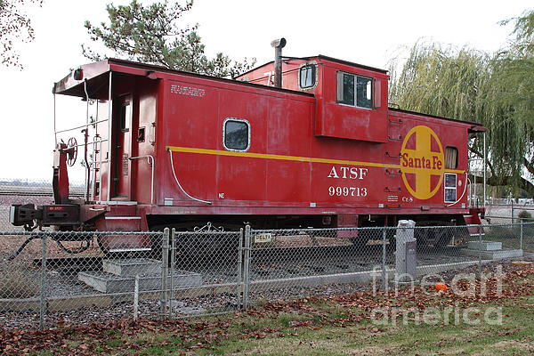 Red Sante Fe Caboose Train . 7d10329 Print by Wingsdomain Art and Photography