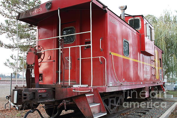 Red Sante Fe Caboose Train . 7d10330 Print by Wingsdomain Art and Photography