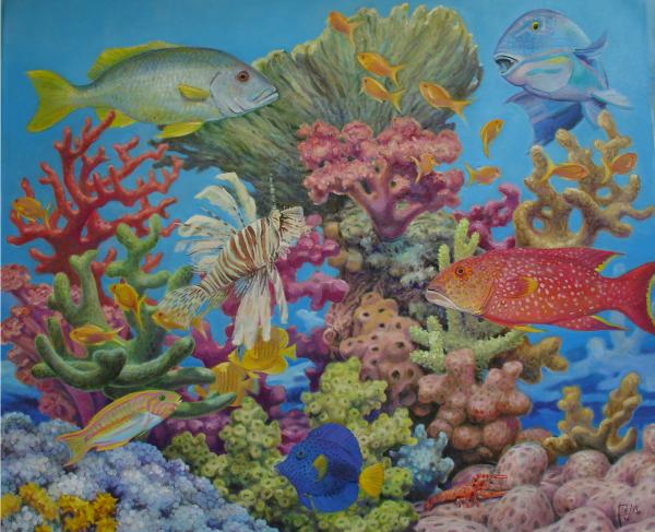 Red Sea Reef Painting  - Red Sea Reef Fine Art Print