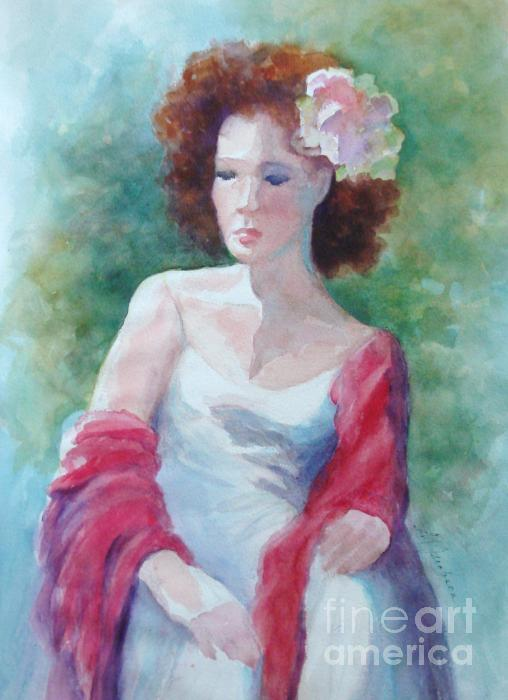 Red Shawl Painting  - Red Shawl Fine Art Print