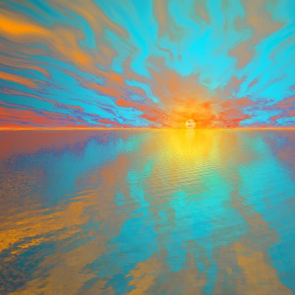 Susanna  Katherine - Red Sunset On Aqua Ocean