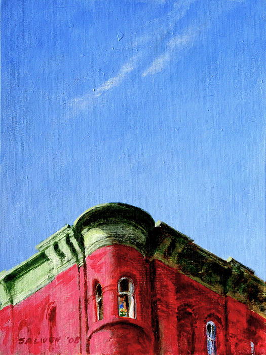 Red Tenement Print by Peter Salwen