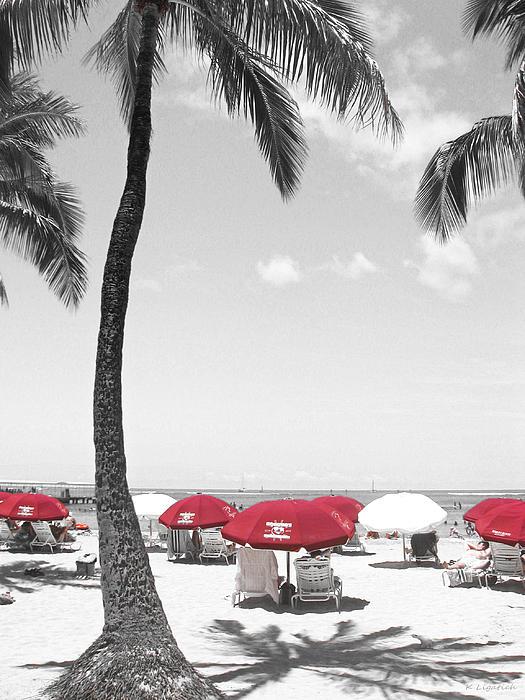 Red Umbrellas On Waikiki Beach Hawaii Print by Kerri Ligatich