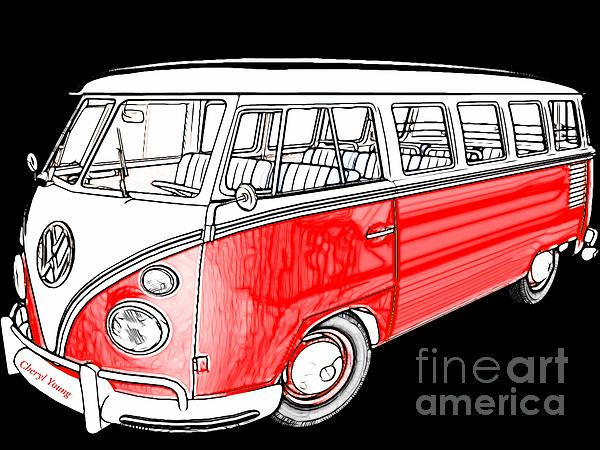 Red Volkswagen Print by Cheryl Young