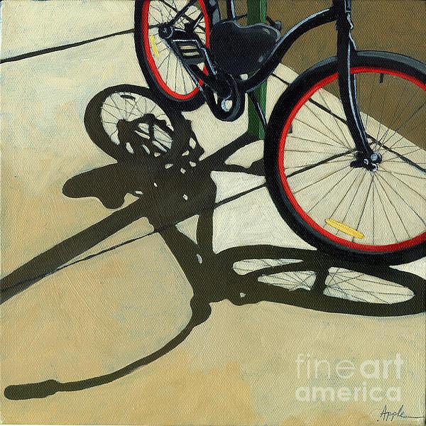 Red Wheels - Bicycle Art Oil Painting Print by Linda Apple