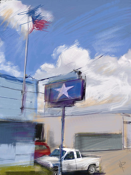 Red White And Blue Print by Russell Pierce