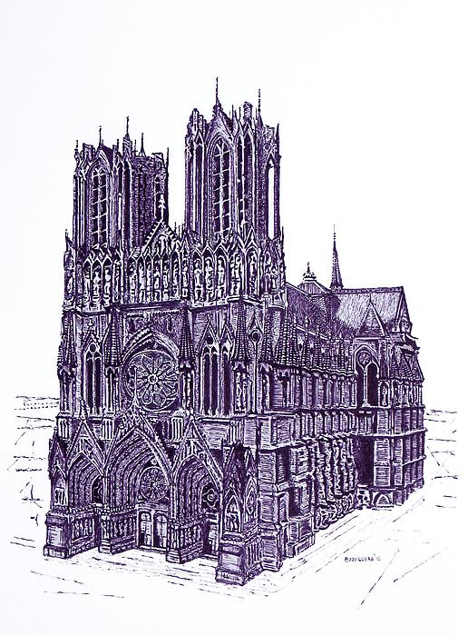 Reims Cathedral A Pen And Ink Drawing On Paper Print by Mario  Perez