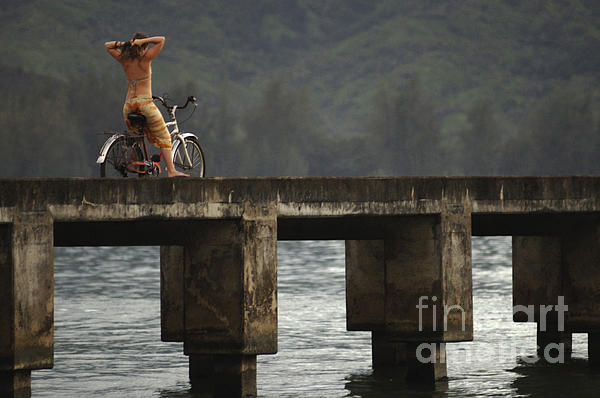 Relaxed Ride Hanalei Bay Print by Bob Christopher