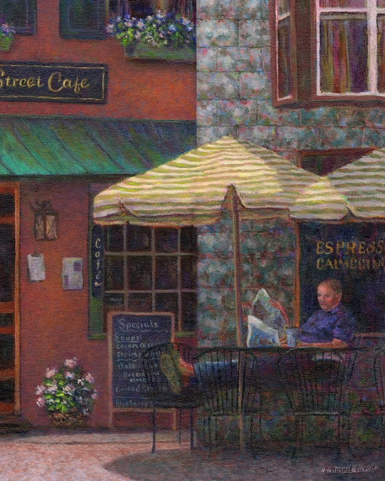 Relaxing At The Cafe Print by Susan Savad