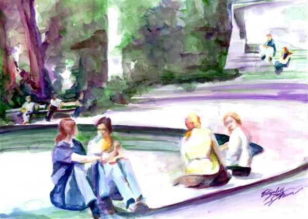 Relaxing In Madison Park Painting  - Relaxing In Madison Park Fine Art Print