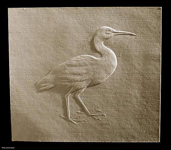 Relief Bird On Paper Print by Suhas Tavkar