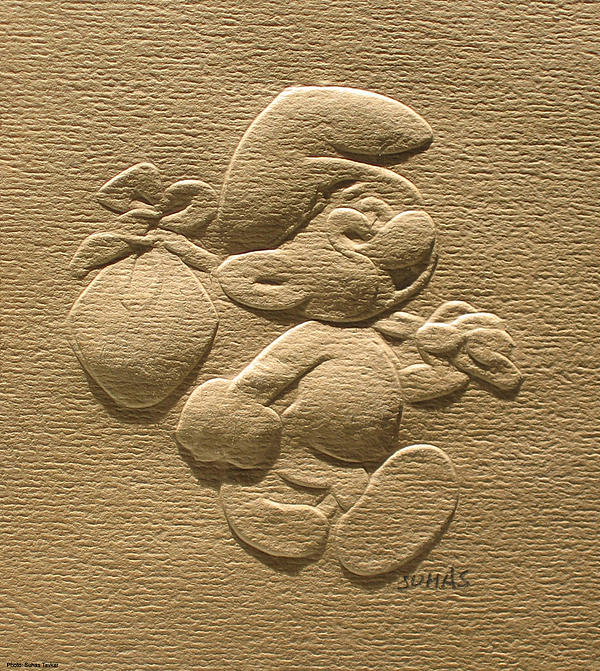 Relief Smurf On Paper Print by Suhas Tavkar