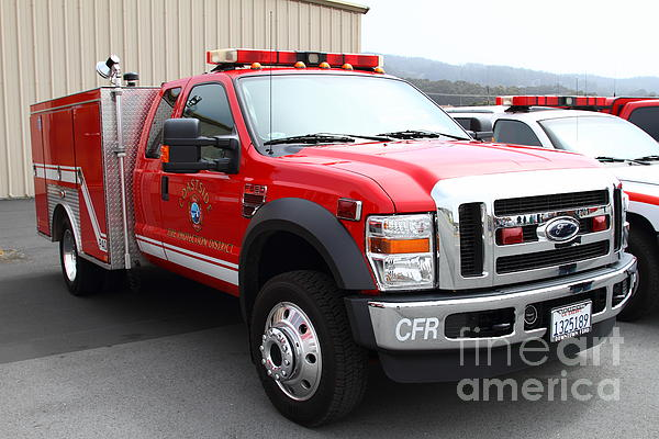 Rescue Truck . Coastside Fire Protection District 7d15096 Print by Wingsdomain Art and Photography
