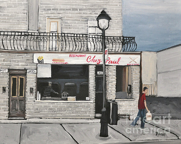 Restaurant Chez Paul Pointe St. Charles Print by Reb Frost