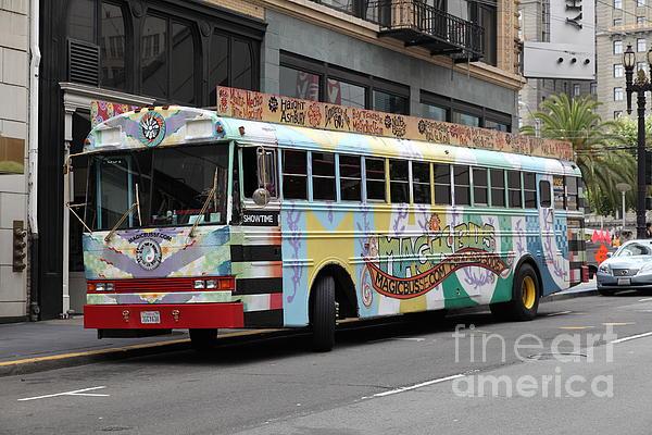 Retro 60s San Francisco Haight Ashbury Magic Bus - 5d17923 Print by Wingsdomain Art and Photography