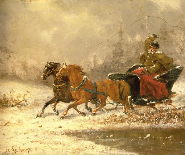 Returning Home In Winter Print by Charles Ferdinand De La Roche