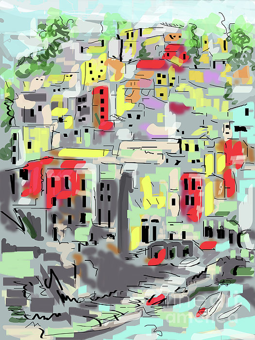 Riomaggiore Italy Moucasso Painting Print by Ginette Callaway
