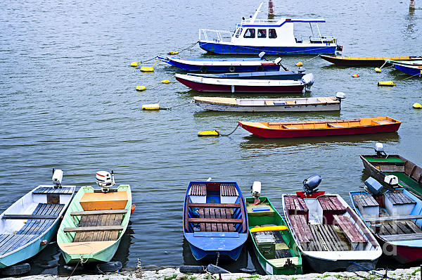 River Boats On Danube Print by Elena Elisseeva