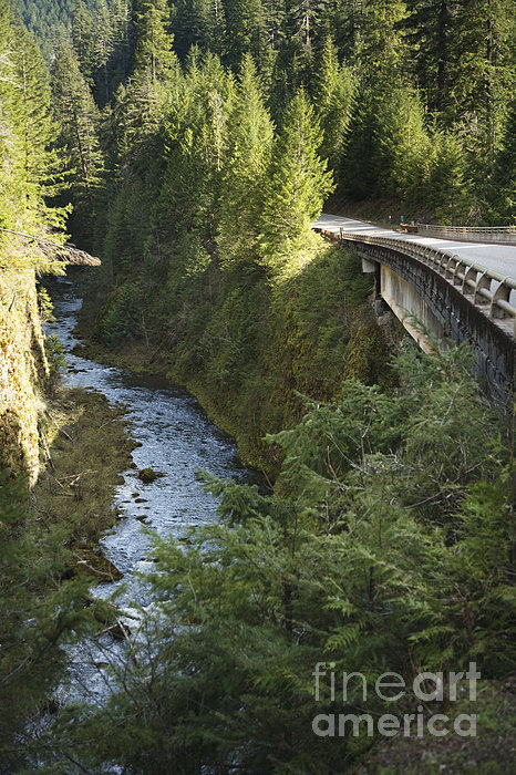 River In Gorge Next To Highway Print by Ned Frisk