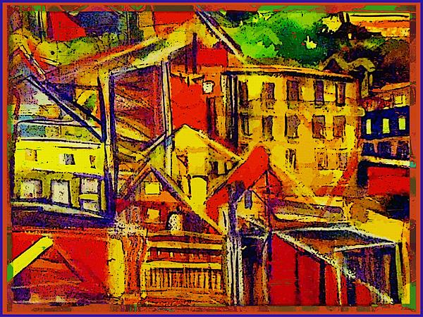 River Town In Ohio Print by Mindy Newman