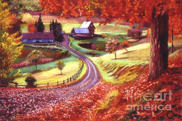 Road to Maplegrove Farm Painting  - Road to Maplegrove Farm Fine Art Print