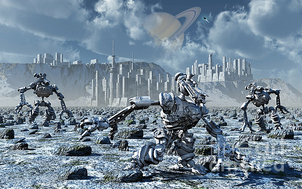 Robots Gathering Rich Mineral Deposits Print by Mark Stevenson