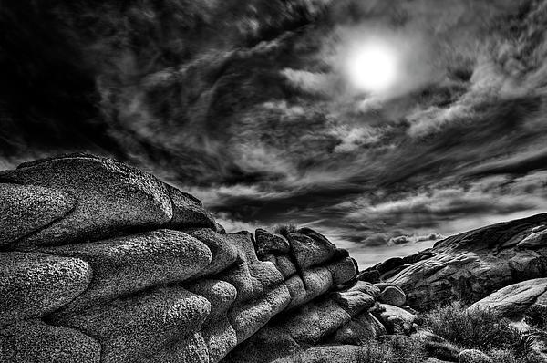 Rock Ledge With Swirling Sky Print by Gary Zuercher