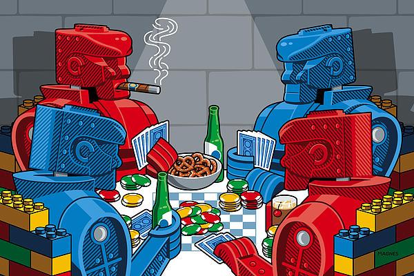 Rockem Sockem Poker Night Print by Ron Magnes