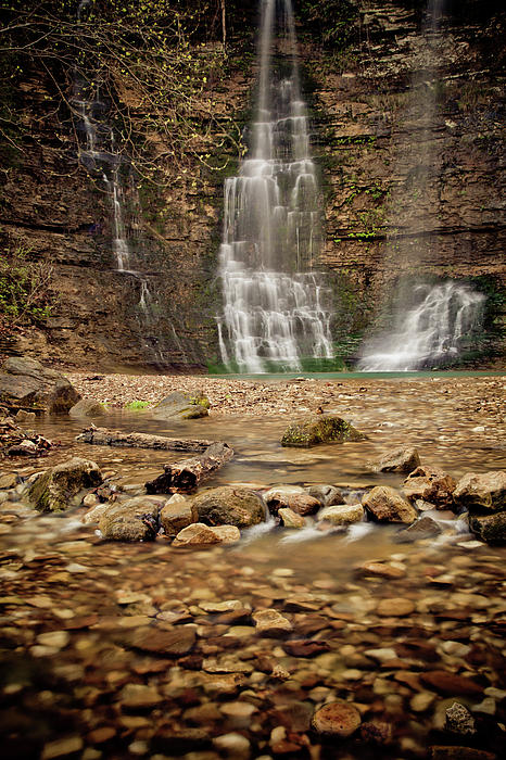Rocks And Waterfalls Print by Iris Greenwell