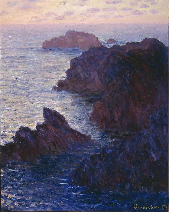 Rocks At Bell Ile Port Domois Print by Claude Monet