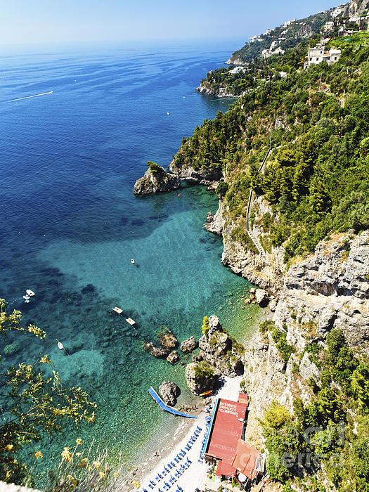 Rocky Amalfi Beach Print by George Oze