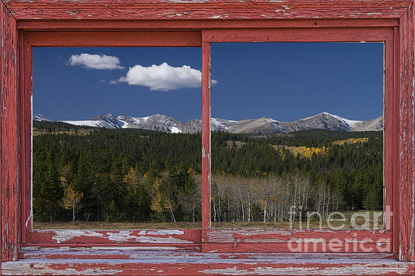 Rocky Mountain Autumn Red Rustic Picture Window Frame Photos Art Print by James BO  Insogna
