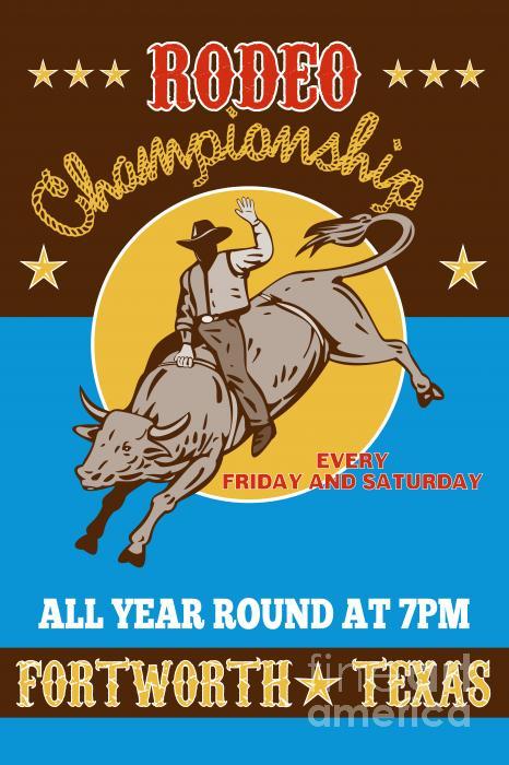 Rodeo Cowboy Bull Riding Poster Print by Aloysius Patrimonio