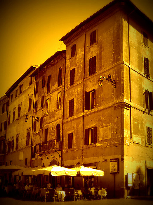 Roman Cafe With Golden Sepia 2 Print by Carol Groenen