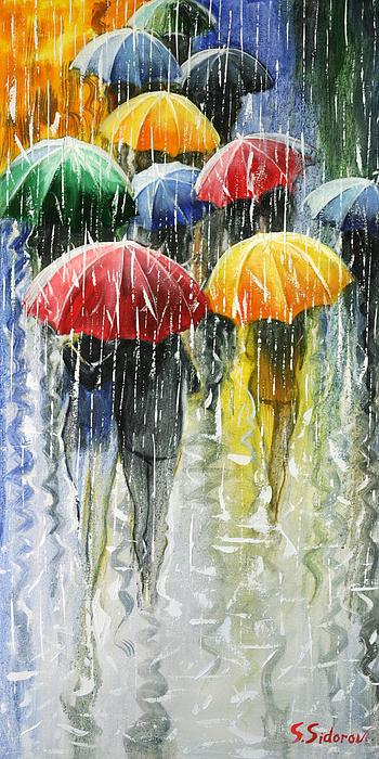 Romantic Umbrellas Print by Stanislav Sidorov