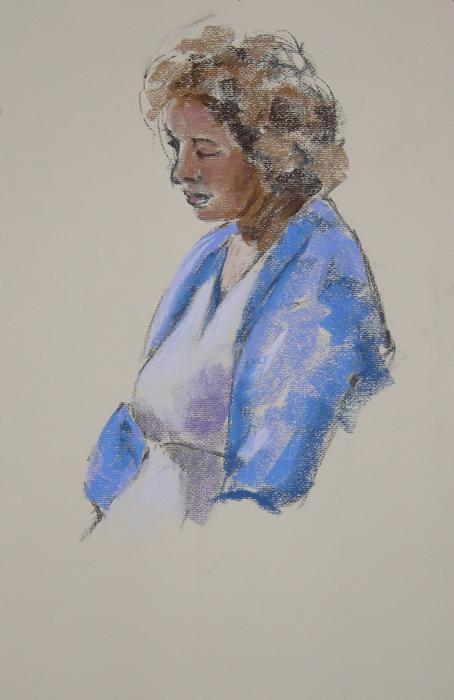 Rose In Her Blue Shawl Print by Mary McInnis