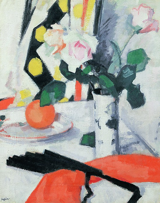 Roses In A Chinese Vase With Black Fan Print by Samuel John Peploe