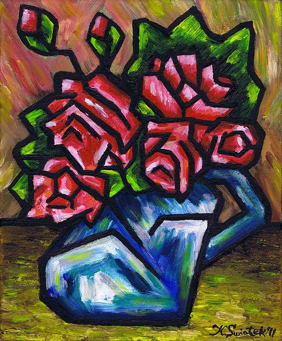 Roses In Blue Vase Print by Kamil Swiatek
