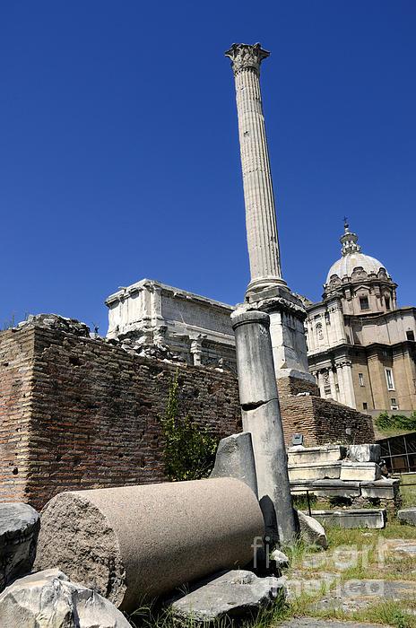 Rostra. Column Of Phocas And Septimius Severus Arch In The Roman Forum. Rome Print by Bernard Jaubert