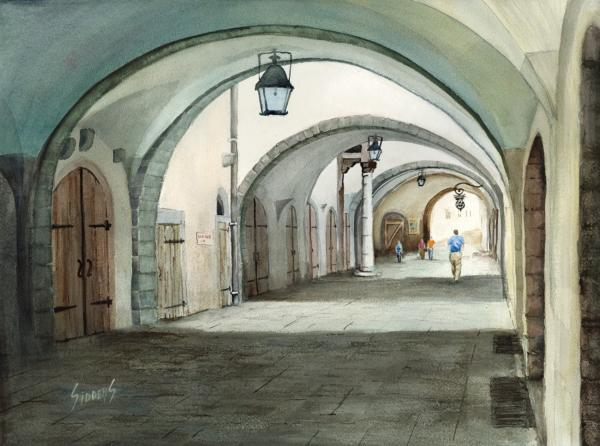 Rothenburg Backstreet Print by Sam Sidders
