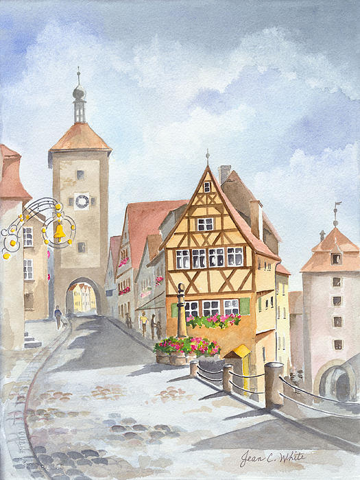 Rothenburg In Germany Print by Jean White